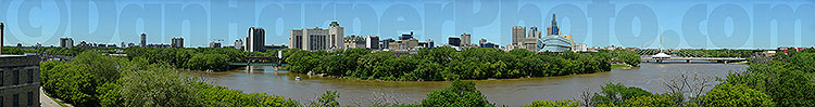Winnipeg panoramic summer image of downtown & the Forks